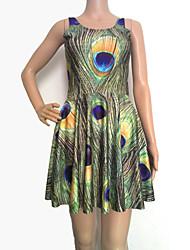 vestido sleevless impresión pluma de pavo real de las mujeres