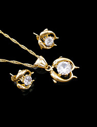 18K Real Gold Plated Dolphins Zircon Necklace+Earrings Jewelry Set
