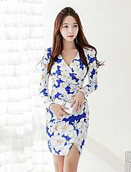 Women's Bodycon/Print/Work V-Neck Long Sleeve Split Dresses (Elastic/Polyester)