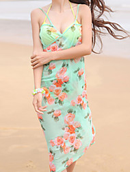 Women's Beach Inelastic Sleeveless Knee-Length Dress (Chiffon)