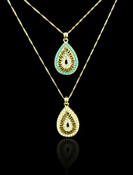 18K Real Gold Plated Pearl/Blue Drops Of Water Pendant 2.4*4.3CM