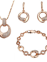 ArinnaFashion Jewelry Set Women 18k Rose Gold Plated w clear crystal  Necklace&Earrings&Bracelet Gift Set G1377