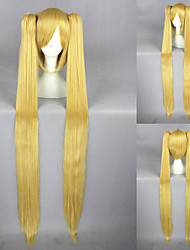 40inch Vocaloid-MIKU Gold Anime Cosplay Wigs+2Ponytails