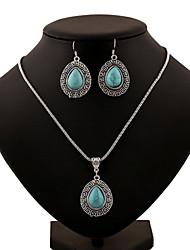 Turquoise Waterdrop Shape Pendant Silver Necklace & Earrings Jewelry Set