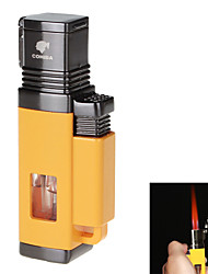 Fashion High-Grade Windproof Inflatable Four Flame Lighter & Cigar Punch