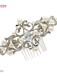 Neoglory Jewelry Flower Hair Combs Bridal Accessories with Clear Rhinestone and Imitation Pearl for Lady/Bridal/Party