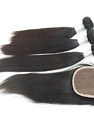 """4Pcs Lot 10""""-28""""Brazilian Human Hair Heat Resistant Natural Straight Hair Extension with Closure Unprocessed Remy Hair"""