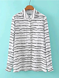 Women's New Fashion Casual/Stripe Print Inelastic Long Sleeve Regular Blouse (Cotton)
