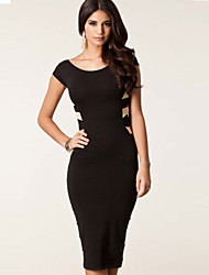 Morefeel Women's Sexy Round Collar Backless Short Sleeve Long Dress