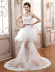 Sheath/Column Wedding Dress - White Court Train Sweetheart Tulle