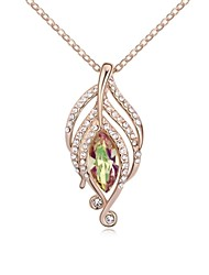 Spirit of Wind Short Necklace Plated with 18K Rose Gold Luminous Green Crystallized Austrian Crystal Stones