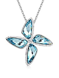 Windmill of Love Short Necklace Plated with 18K True Platinum Aquamarine Crystallized Austrian Crystal Stones