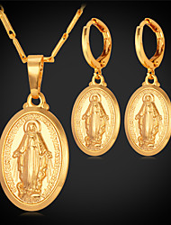 TopGold New Virgin Mary Pendant Earrings Set 18K Gold Platinum Plated Colar Cross Jewelry for Women High Quality