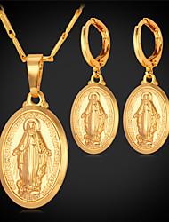 topgold novos brincos pingente virgem maria definir 18k platina banhado a ouro jóias cruz colar para as mulheres de alta qualidade