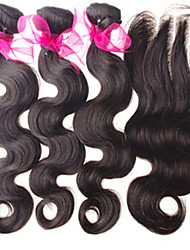 4Pcs Lot Mongolian Virgin Hair With Closure 3Bundles Unprocessed Mongolian Human Hair Weft With Lace Closure