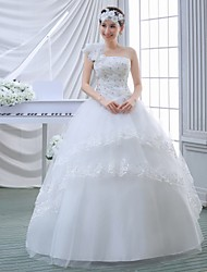 Ball Gown Wedding Dress - White Floor-length One Shoulder Lace