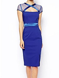 Women's Cut out Vintage Dress(with Mesh Shoulder)