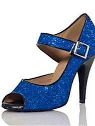 Women's Dance Shoes Latin Satin Flared Heel Black/Blue/Purple