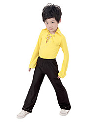 Latin Dance Performance Outfits Boy's Performance Polyester Outfit Yellow Kids Dance Costumes