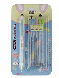 Colorful Erasable Ball Point Pen with 5 Replacement Refills (Blue, Black, Green, Red Ink)