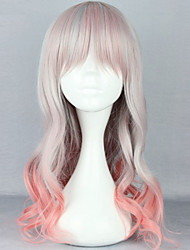The New Wig Anime Characters Grey And Pink Gradient Curly  Hair Wigs