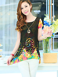 Women's Casual Cute Work Micro Elastic Short Sleeve Long T-shirt (Chiffon)