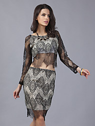Women's Sexy Lace Hollow Bodycon Clothing Sets(T-shirt&Skirt)