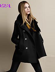 Women's Vintage/Casual/Work Long Sleeve Long Coat (Tweed/Fur)