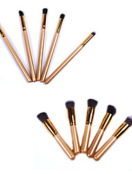New Golden Professional Makeup Brush Set with 10Pcs Brushes