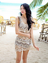 Hai Shang  Women's Korean Lace Sexy Beach Transparent Strap Dress