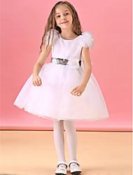 Ball Gown Knee-length Flower Girl Dress - Cotton/Silk Short Sleeve