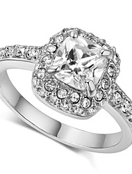 T&C Women's 18K White Gold Plated Princess Cut Zircon Wedding Ring Surrounded by Austrian Crystals