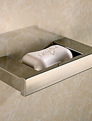 Contemporary Mirror Polished Quadrate Stainless Steel Material Soap Dishes Holder