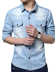 Men's Pure Short Sleeve Top , Cotton/Denim Casual/Plus Sizes