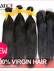 3 Bundles Malaysian Virgin Hair Straight With Closure Unprocessed Human Hair Weaves And Free/Middle/3 Part Lace Closures
