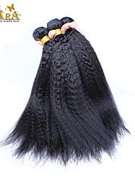 "3Pcs/Lot 10""-26"" Brazilian Virgin Hair Color Natural Black Kinky Straight Human Hair Weaves"