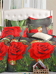 Mingjie Red Roses 6D Bedding Sets 4PCS Queen Size and Full Size Bed Linen China Duvert Cover Sets