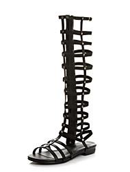 Sandalias (Negro Comfort/Gladiador - Plataforma - Piel - para MUJERES