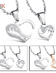 OPK®A Pair Fashion Heart Love Symbol High Quality Titanium 18 K Electroplating Diamond Lovers Necklace Love Gift