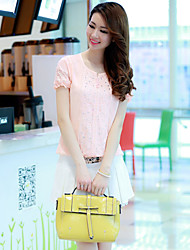Women's Casual/Daily Simple Summer Blouse,Solid Round Neck Short Sleeve Pink / White / Green Thin