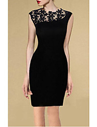 MAKE  Women's Patchwork / Lace Black Dresses , Vintage / Sexy / Bodycon / Lace / Party / Work Round Sleeveless