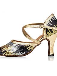 Non Customizable Women's Dance Shoes Latin Flocking Stiletto Heel Gold