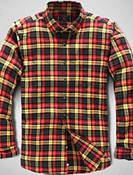 U&Shark New Hot! Men's Sanded 100% Cotton Leisure Flannel Long Sleeve Shirt with Green Red Yellow Check/QFL008