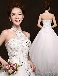 A-line Floor-length Wedding Dress -Halter Tulle