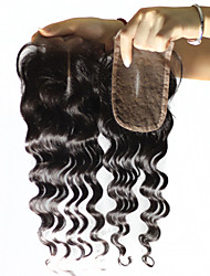 """Remy Brazilian Virgin Loose Wave Lace Closure hair 120% 1B 3.5*4 Inch Free middle Part Swiss Lace Closure 10""""-20"""""""