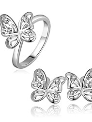 Plated Platinum Butterfly Modelling Fashion Jewelry Sets