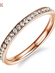 OPK®Elegant Ms 18 K Rose Gold Plated Zirconium Drill Good Luck Ring