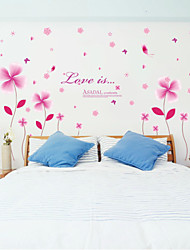 Wall Stickers Wall Decals, Butterflies over Flowers PVC Wall Stickers