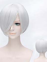 30cm Anime Bleach Ichimaru Gin Short Straight Silver White Heat Resistant Anime Cosplay Wig