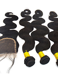 """4Pcs Lot 10""""-28""""Brazilian Real Hair Extensions Body Wave Weave Wig Natural Straight Hair Closure Unprocessed Remy Hair"""